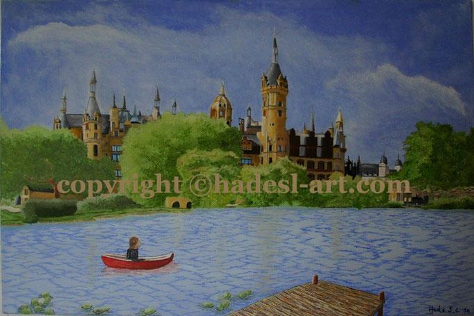 """""""Schweriner Schloss""""...Öl auf Leinwand 2010  (50 cm x 70 cm)"""
