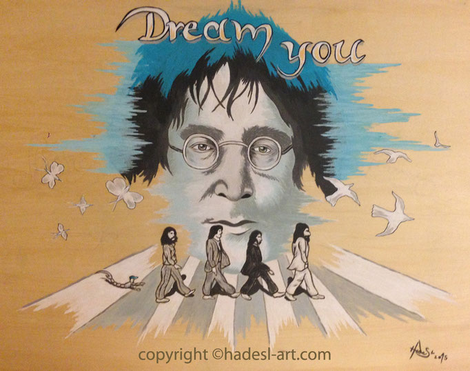 """""""John Lennon""""...Acryl auf Holz 2015"""