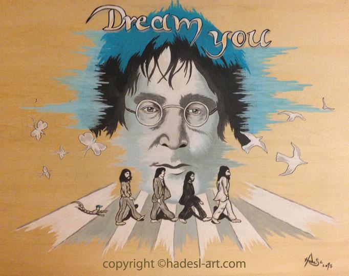 """""""John Lennon""""...Acryl auf Holz 2015  (52 cm x 61 cm)"""