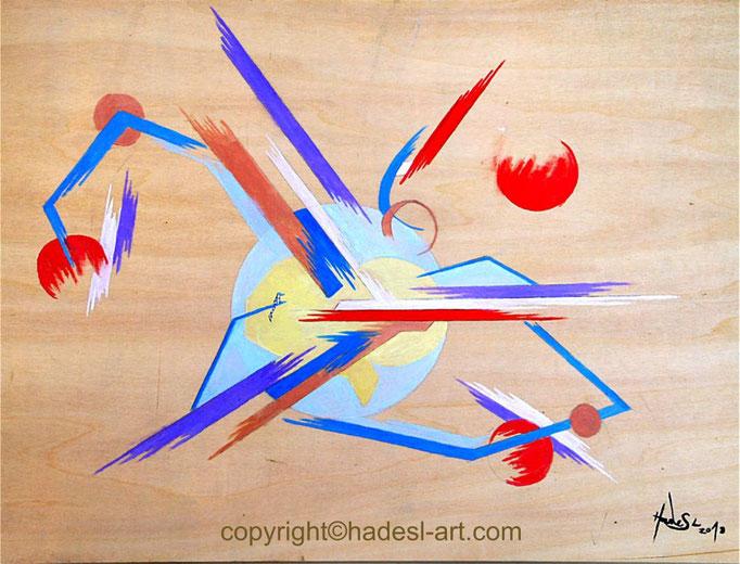 """Kreislauf""...Ölfarbe auf Holz  (30 cm x 40 cm)"