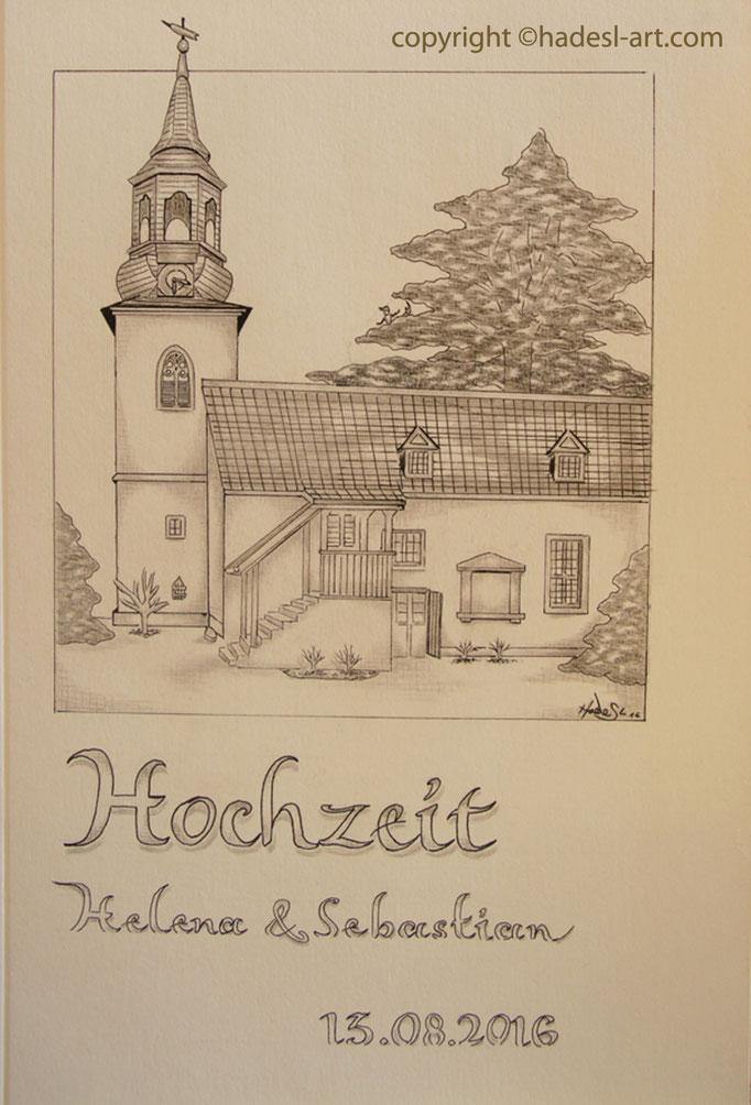 """""""Tiefurter Kirche""""... Schwarzen Fineliner/Bleistift auf Papier 2016"""