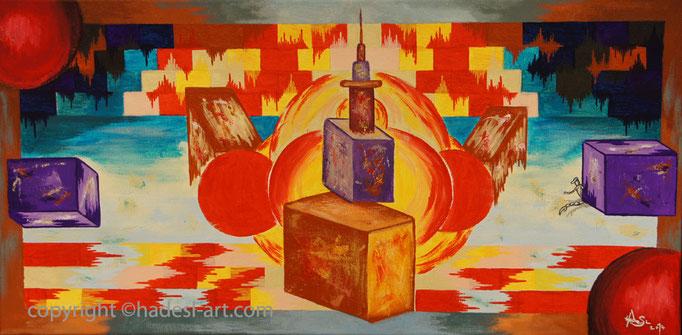 """""""Der Stich""""...Acryl auf Leinwand 2014, 60 x 30 cm"""