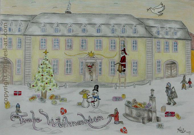 """""""Weihnachtskarte""""...Bunt-, Copic/Touchstifte auf Papier 2015"""