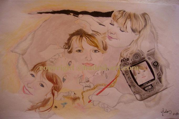 """""""Das andere Gesicht""""...Buntstifte auf Papier 2010 (30 cm x 42 cm)  verkauft"""