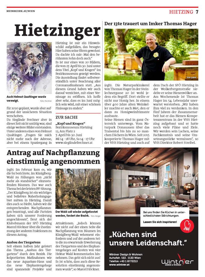 Bezirkszeitung Hietzing März 2021 Künstlerinnenportrait Teil 2