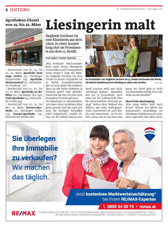 Bezirkszeitung Hietzing März 2021 Künstlerinnenportrait Teil 1