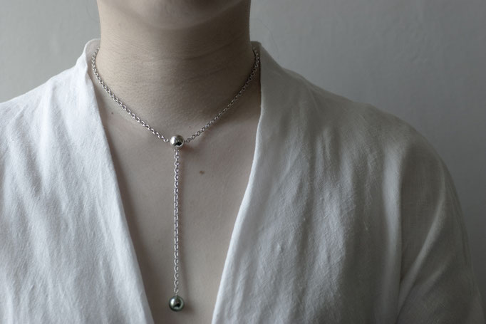 sphere Y-chain necklace  - No:OPP-7 素材 SV925 x 南洋真珠 36cm+10cm ¥37.000