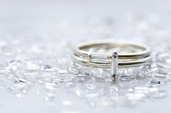 ring k10 x taper baguette cut diamond  ¥41,500/¥51,500