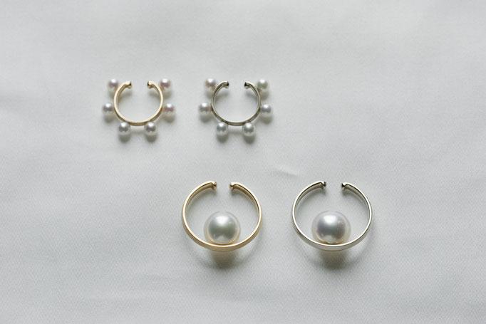 pearl earparts - 上側 No:OPE-28 素材 K10 x アコヤ真珠 ¥25.000(YG) , ¥28.050(WG) /下側 No:OPE-29  素材 K10 x 南洋真珠 ¥36.250(YG) , ¥40.700(WG)