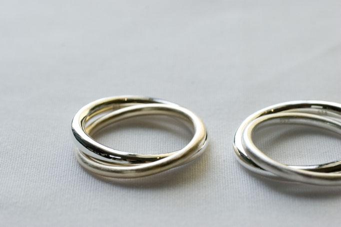 two ring (2連リング) - 左 No:OTR-2 素材 SV925 & K10YG ¥31.000- , 右 No:OTR-1 素材 SV925 & SV925 ¥16.000-