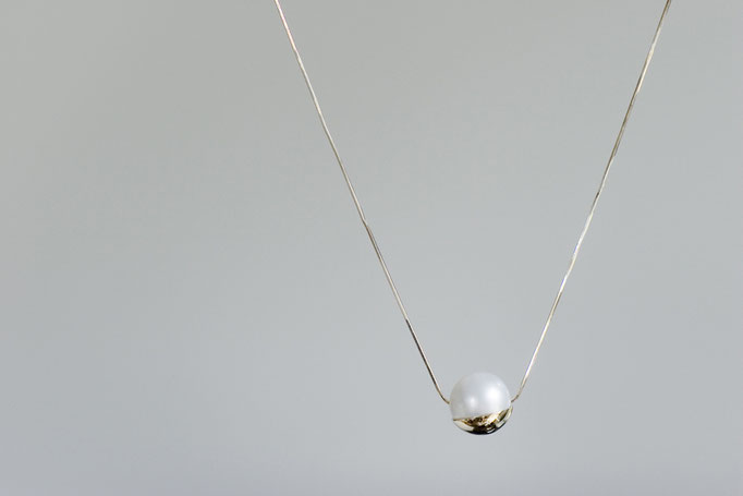 cuped necklace - No:OPP-5 素材 K10 x 南洋真珠 45cm ¥60.000