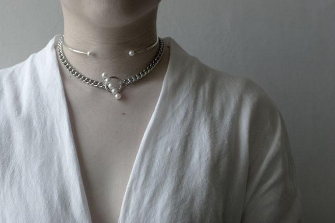 akoya neckcuff OPP-9 & akoya chain choker OPB-13