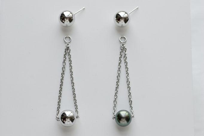 sphere pierce sv925 & k10  &  charm sv925 x southseas pearl  (ピアス針は金を使用)¥14,800single/¥20,000single