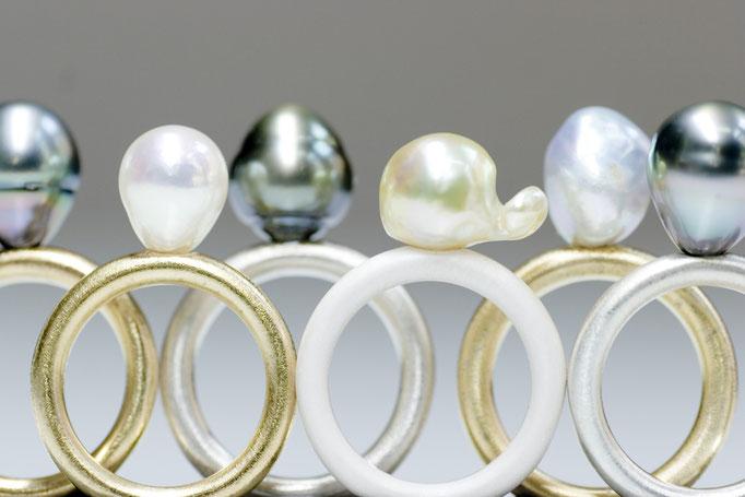 ring - No:OPR-1 素材 SV925(K18色・ロジューム色・セラミック色) x 南洋真珠  ¥20.000