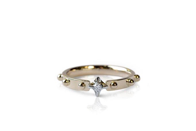 diamond ring  - No:OKR-4 素材 K10YG & K18WG ¥82.500- 文字は入りません