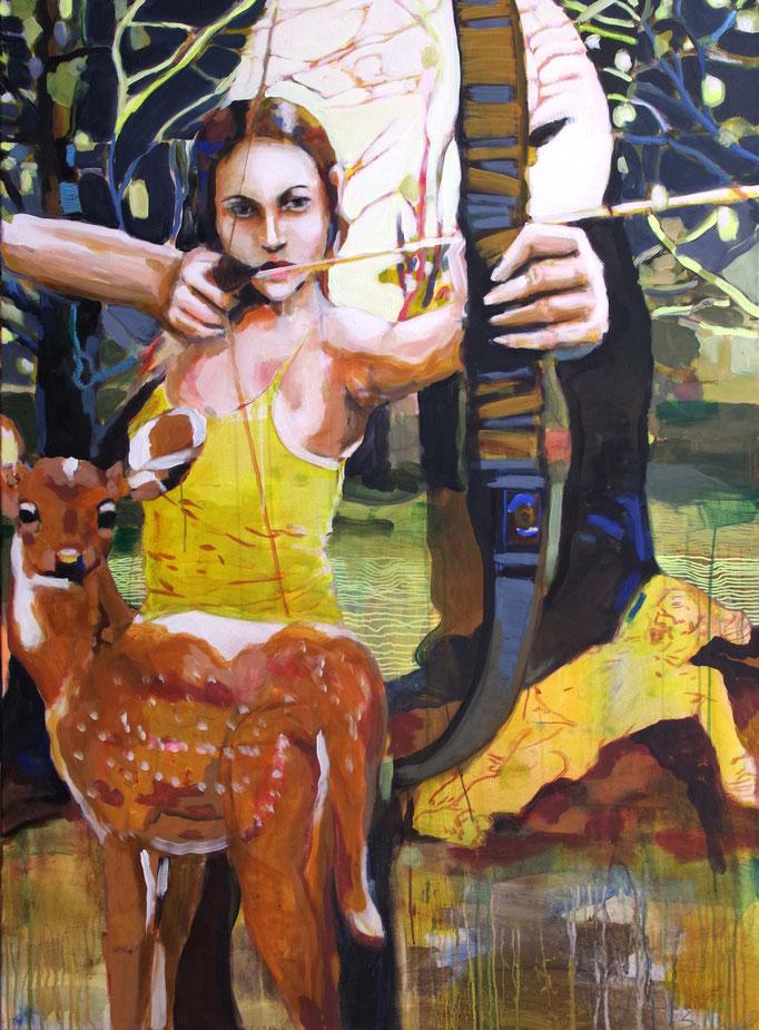 Stephanie Nückel    Artemis - Göttin der freien Natur und der Selbstbestimmung    Acryl auf Leinwand,  160 x 110 cm,  2017/18