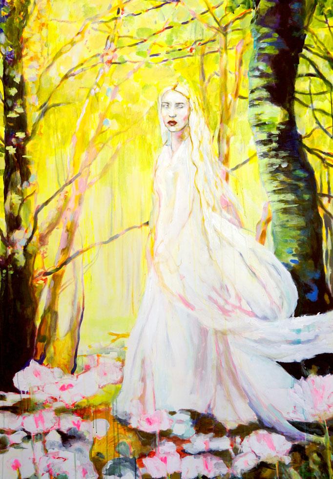 Stephanie Nückel   Oonagh die keltische Göttin der Leichtigkeit  Acryl auf Leinwand   160 x 110 cm  2020