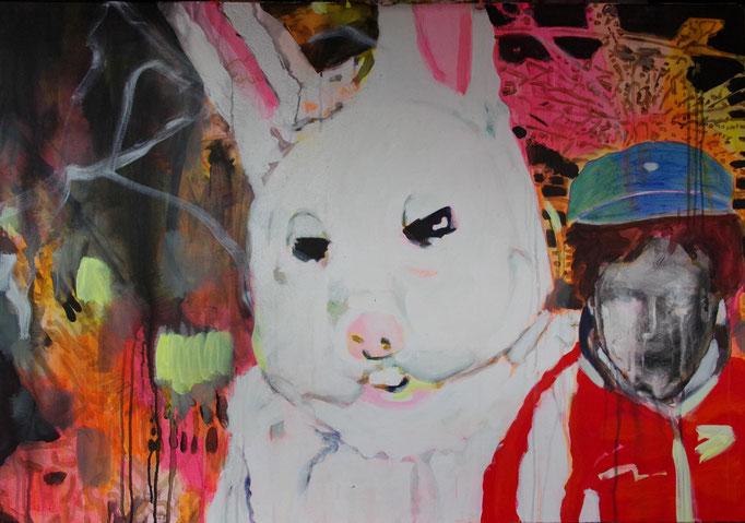 Stephanie Nückel      Cheers       Acryl auf Malgrund    116 x 81 cm     2017