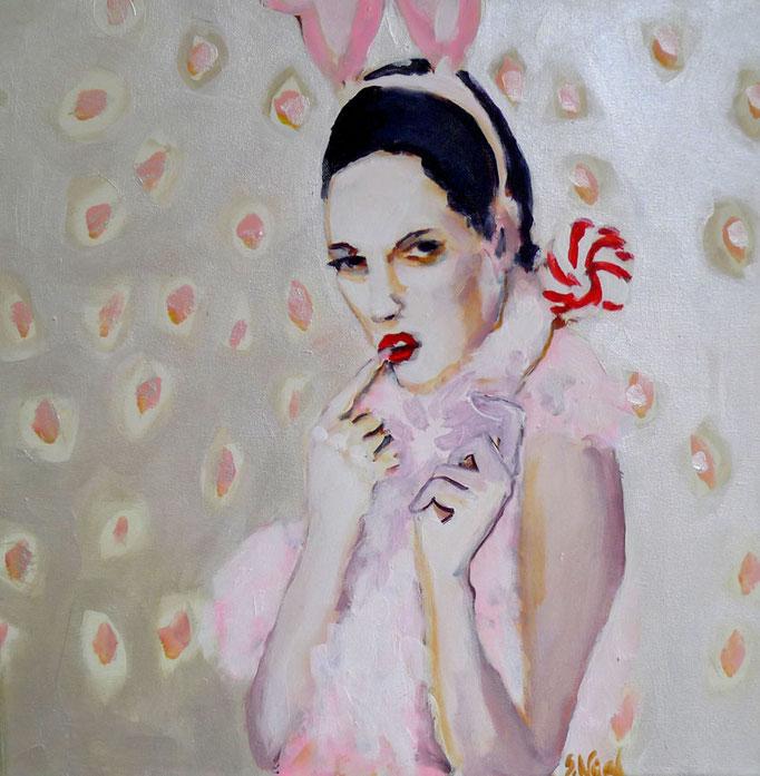 Stephanie Nückel    Bunnystyle   Acryl/Kohle auf Malgrund   50 x 50 cm      2015