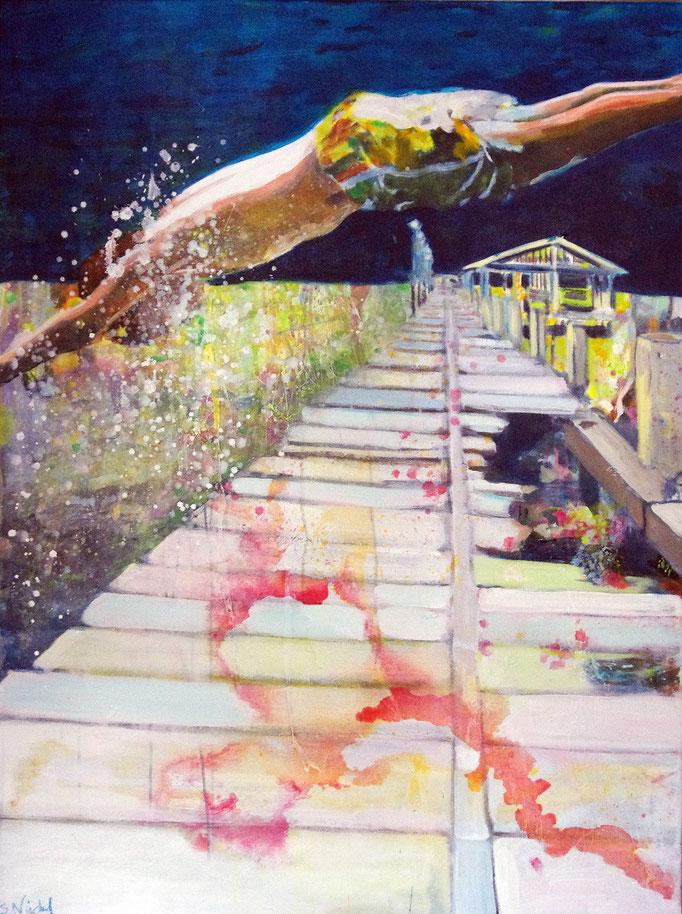 Stephanie Nückel     Nightdiver    140 x 80 cm   Acryl auf Malgrund    2012