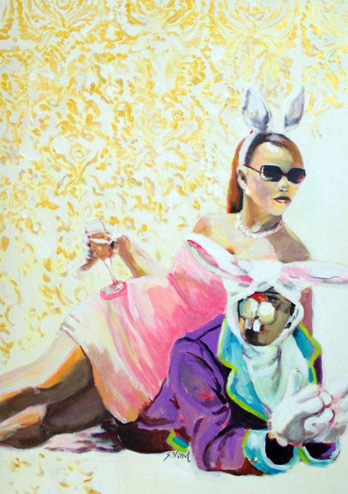 Stephanie Nückel     Enjoy life  Acryl/Kohle auf Malgrund   118 x 81 cm    2015