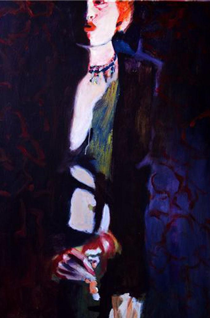 Stephanie Nückel     Monique   Acryl auf Malgrund  100 x 70 cm  2017