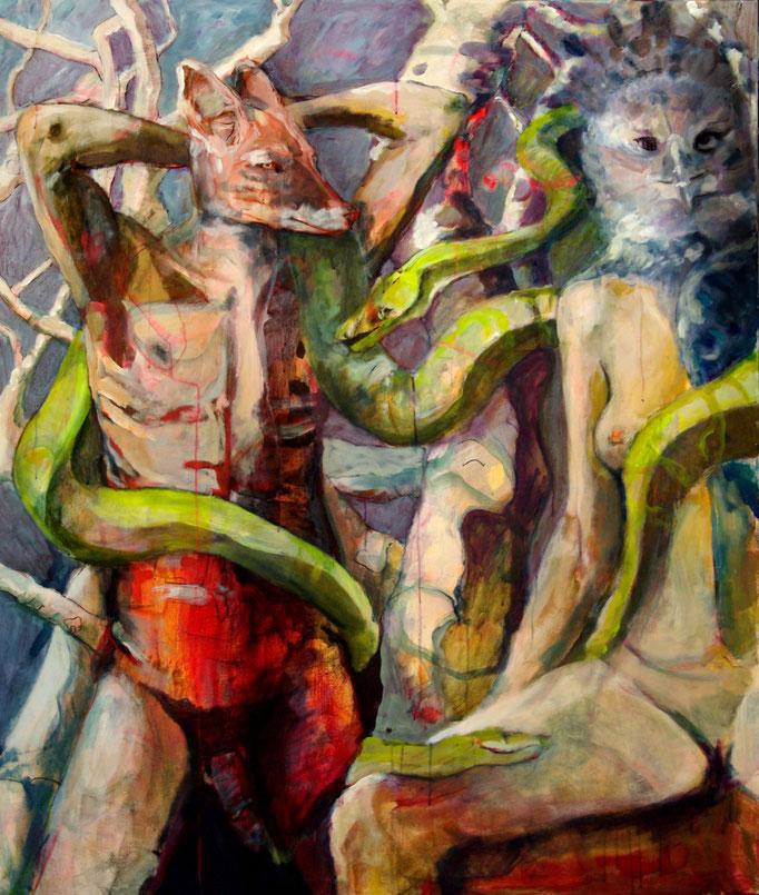 Stephanie Nückel     Junger Fuchs ist leicht zu fangen  150 x 120 cm  Aryl/Malgrund  2012
