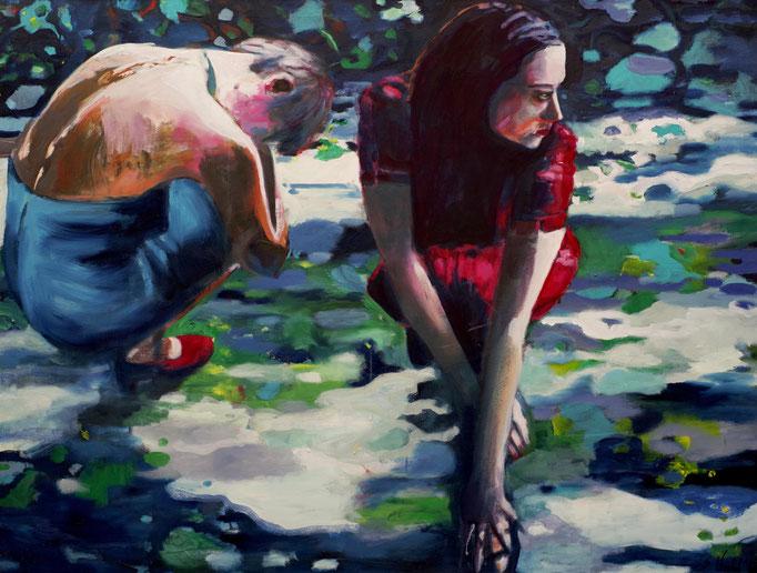 Stephanie Nückel     Jag   120 x 160 cm   Acryl auf Malgrund  2011 (sold)