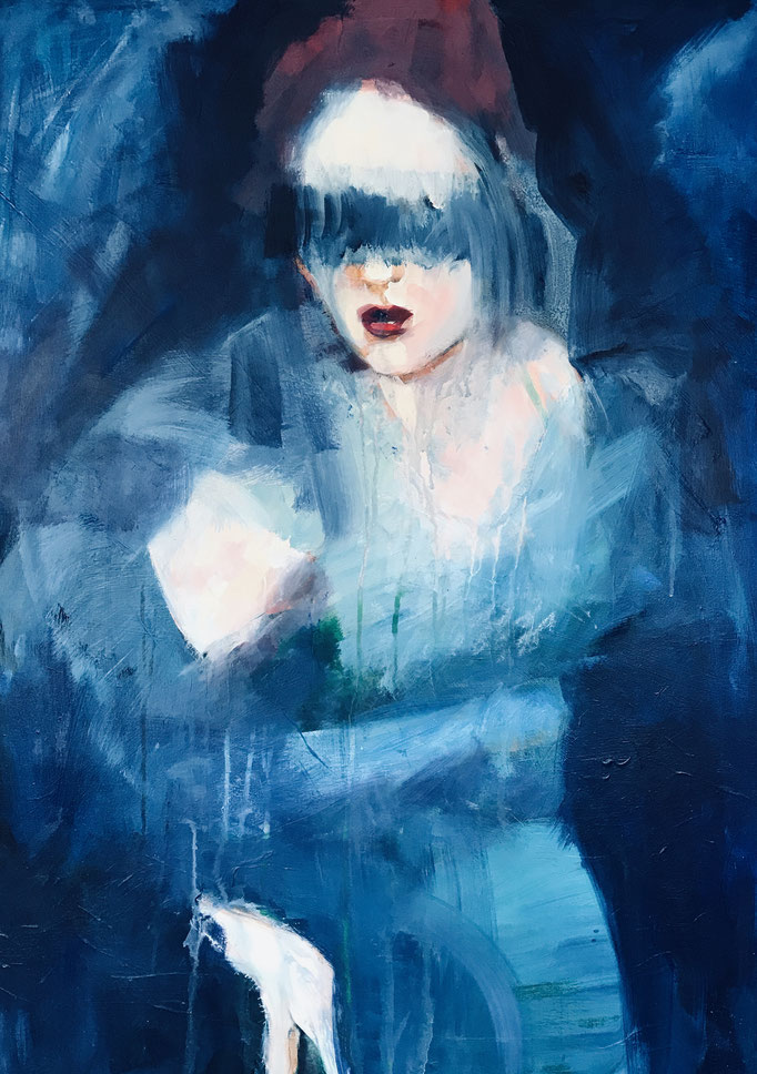 Stephanie Nückel    In the night    100 x 80 cm    Acryl auf Leinwand    2019 (sold)