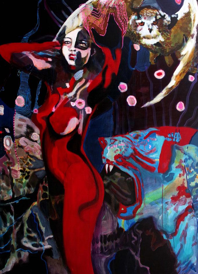 Stephanie Nückel    Lilith -   Göttin des Schicksals und der Schöpfung    Acryl auf Leinwand,  160 x 110 cm,  2017/18  (sold)