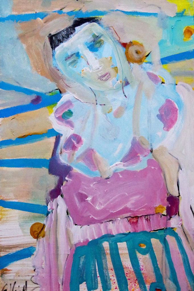 Stephanie Nückel     Blue Fields    Acryl /Leinwand   60 x 40 cm    2017