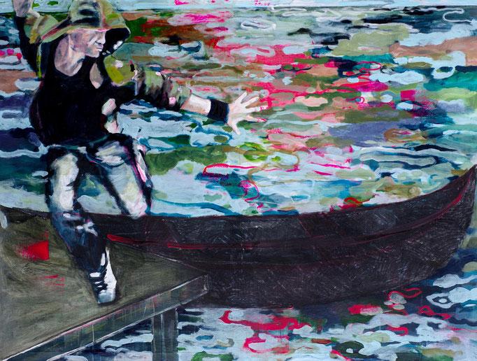 Stephanie Nückel    Über den Styx   Mischtechnik auf Malgrund  120 x 150 cm   2010 (sold)