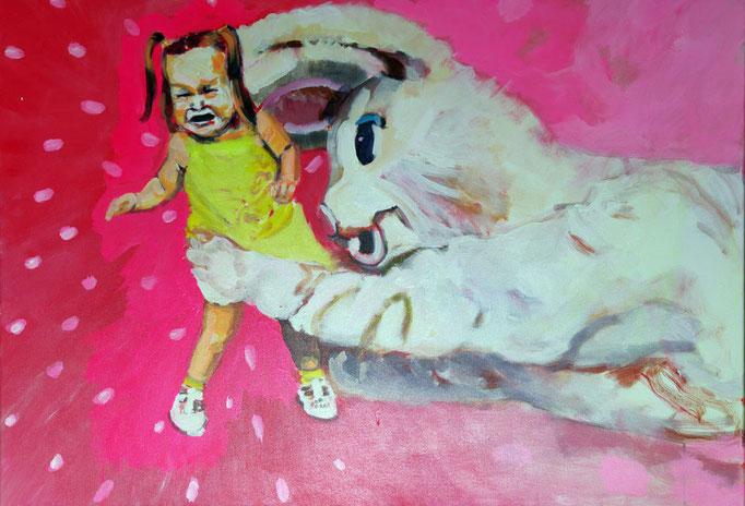 Stephanie Nückel   Rette sich wer kann    Acryl auf Malgrund    2015      100 x 70 cm