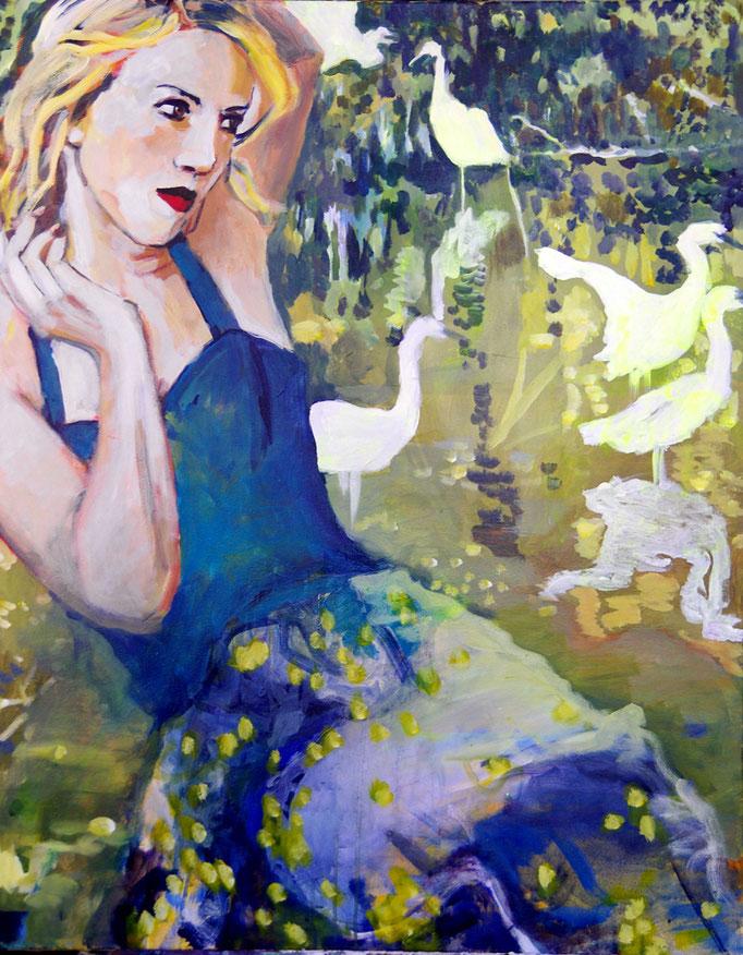 Stephanie Nückel    Die Zeit der Kraniche    100 x 80 cm    Acryl auf Leinwand     2017