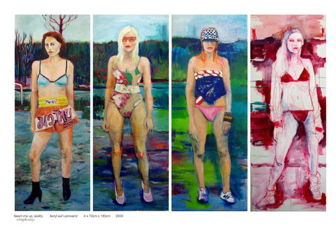 Stephanie Nückel     Beam me up, Scotty   4 x 70 x 180 cm  2010   Acryl auf Malgrund