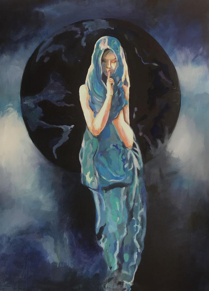 Stephanie Nückel   Sige -Göttin der Stille    Acryl auf Leinwand   160 x 110 cm