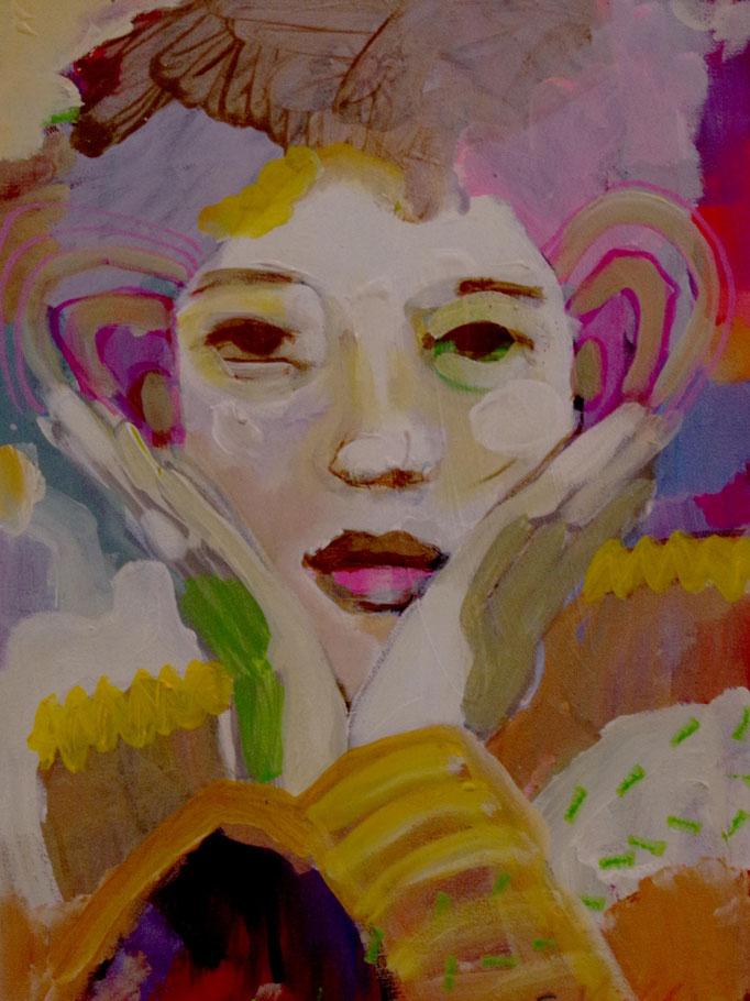 Stephanie Nückel     Listening    Acryl /Leinwand   40 x 30 cm    2017 (sold)