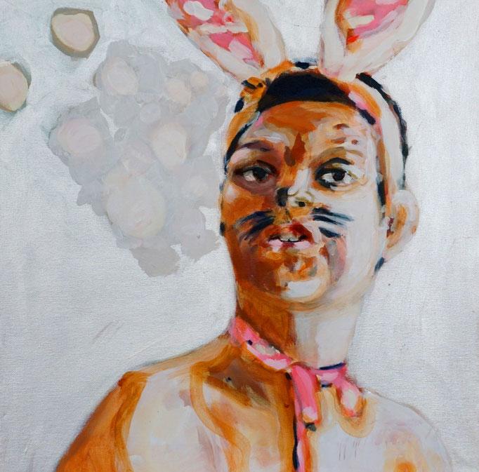 Stephanie Nückel   Hasiboy   Acryl/Kohle auf Malgrund   50 x 50 cm      2015