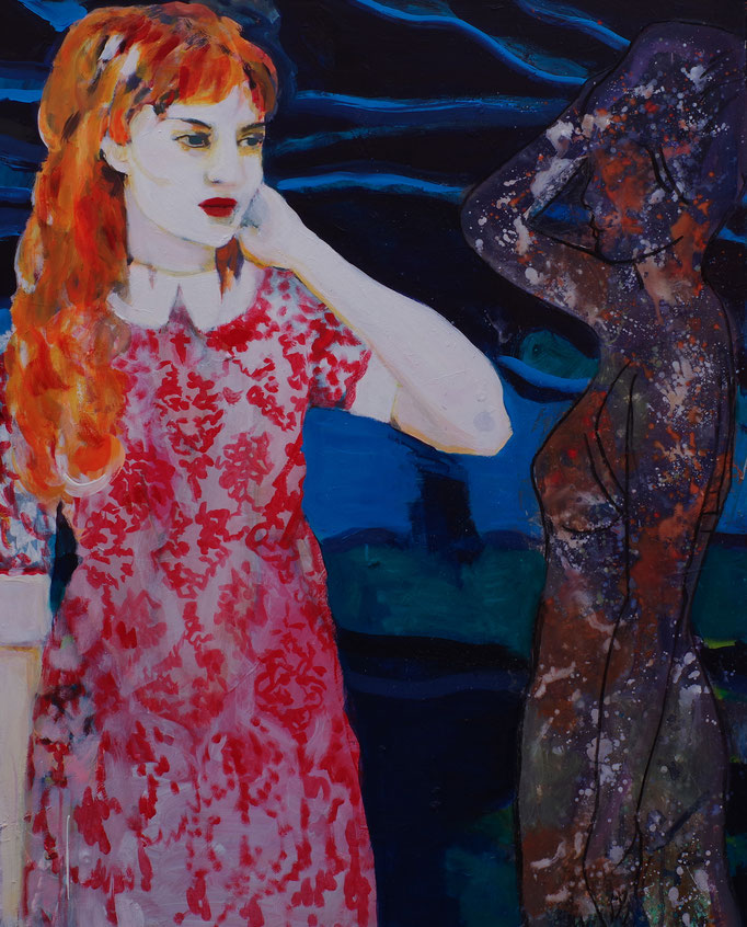 Stephanie Nückel     The shadow  100 x 80 cm  Aryl/Malgrund  2017 (sold)