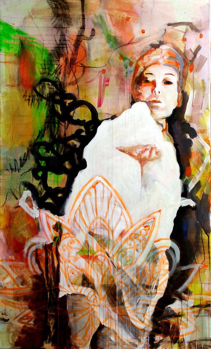 Stephanie Nückel  Lakshmi - Göttin der Liebe und des Glücks,  Acryl auf Leinwand, 160 x 90,  2017/18