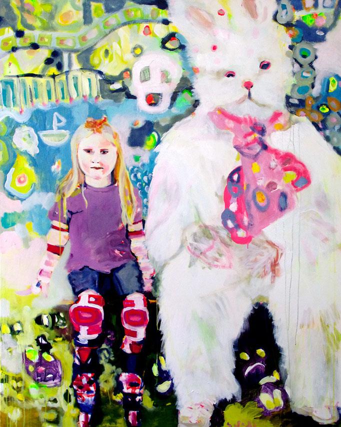 Stephanie Nückel   Rollergirl  Acryl/Kohle auf Malgrund     150 x 120 cm     2015