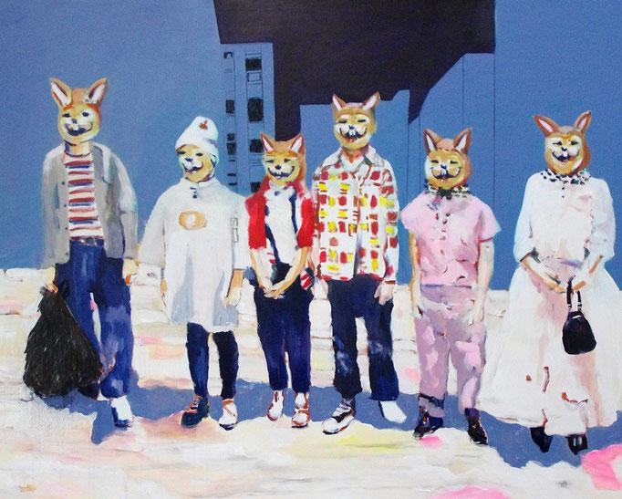 Stephanie Nückel     Fun  Acryl/Kohle auf Malgrund    150 x 120 cm     2015