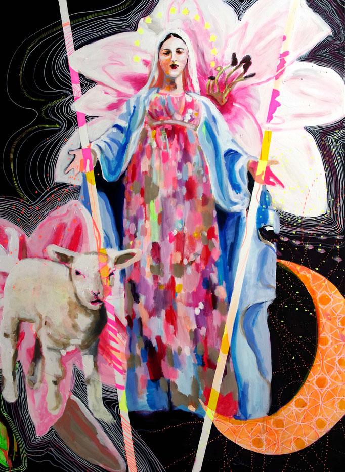 Stephanie Nückel   Mary - Göttin der Barmherzigkeit,    Acryl auf Leinwand,  160 x 110 cm,  2017/18