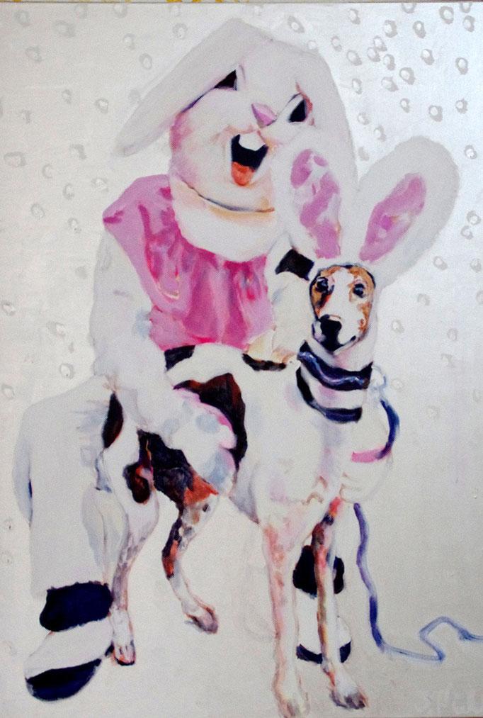Mary and innocent  Acryl/Kohle auf Malgrund  118 x 81 cm  2015 (sold)