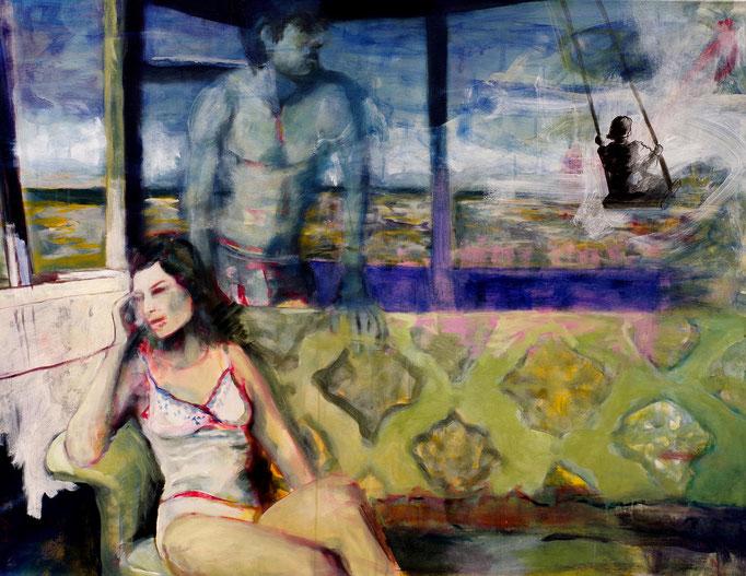 Stephanie Nückel     Desert love  Acryl auf Malgrund  120 x 90 cm   2008 (sold)