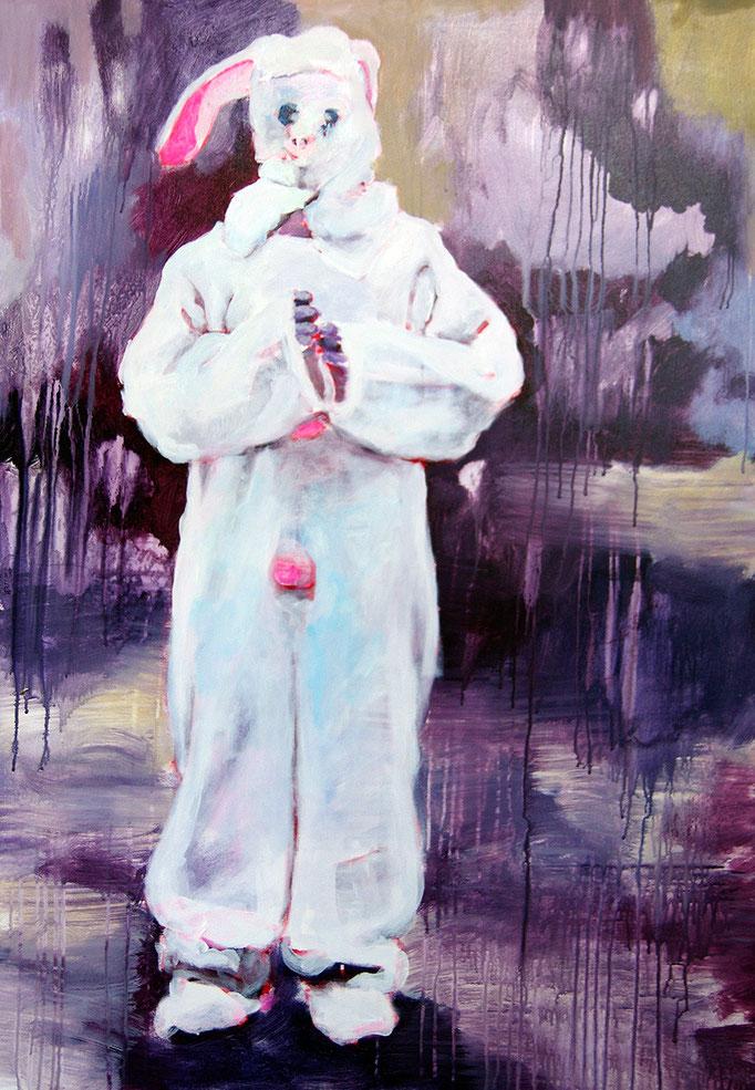 Stephanie Nückel    Rabbit, lost     Acryl/Kohle auf Malgrund   118 x 81 cm    2015