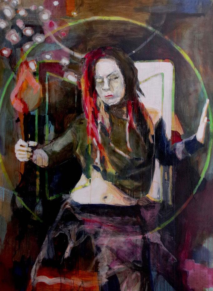 Stephanie Nückel    Hekate - Göttin der Magie und der Verwandlun ,  Acryl auf Leinwand,  160 x 110 cm,  2017/18
