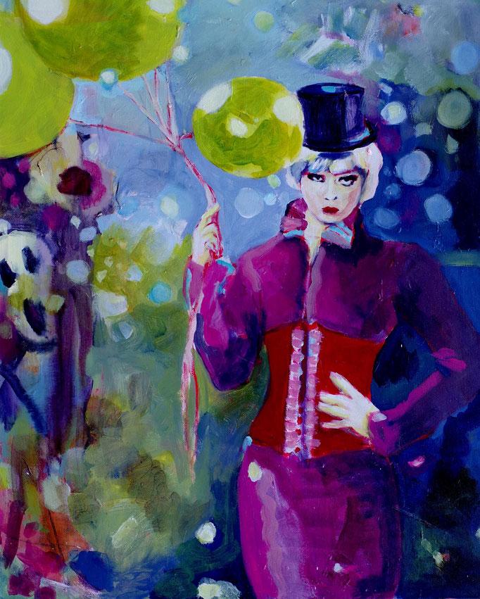 Stephanie Nückel     The ballon girl   Acryl auf Malgrund   100 x 80 cm  2015 (sold)
