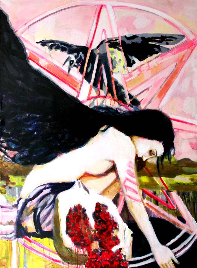 Stephanie Nückel  Inana - Mondgöttin der Liebe und der Leidenschaft,  Acryl auf Leinwand,  160 x 110 cm,  2017/18