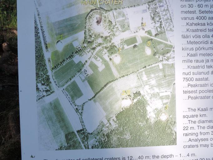 Auf der Karte sind die anderen Einschlagstellen zu erkennen